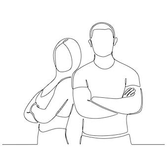 Dessin au trait continu sport homme et femme vector illustration