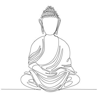 Dessin au trait continu symbole religieux bouddhiste illustration vectorielle de méditation bouddhiste