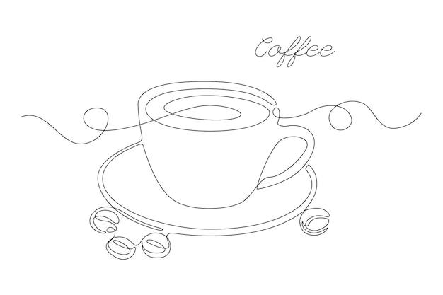 Dessin au trait continu d'une tasse de café avec des grains de café et des lettres de café sur fond blanc