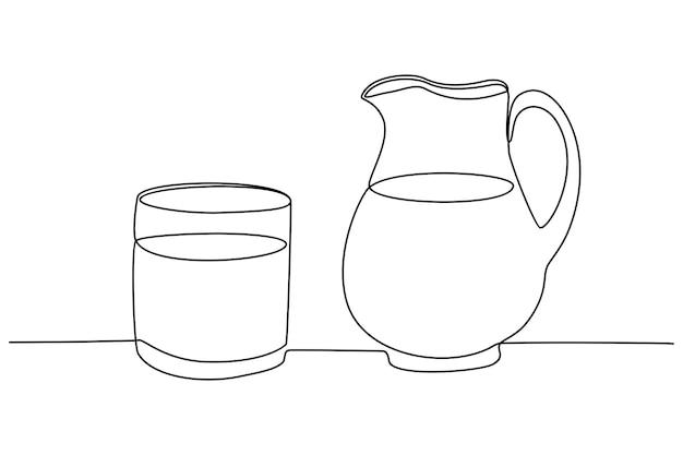 Dessin au trait continu d'une tasse de lait et d'un verre d'illustration vectorielle de lait