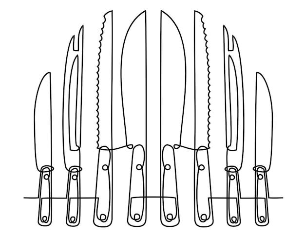 Dessin au trait continu d'ustensiles de cuisine ou d'ustensiles de cuisine vecteur de couteau à une ligne