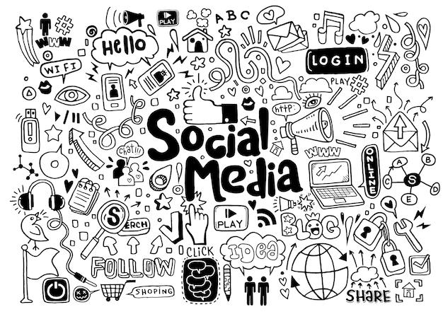Dessin au trait doodle dessin animé ensemble d'objets et de symboles sur le thème des médias sociaux
