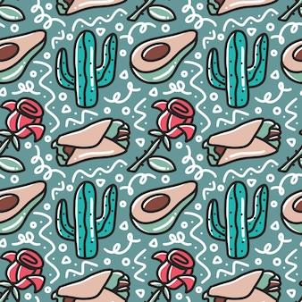 Dessin au trait du modèle de dessin à la main de vacances mexicaines