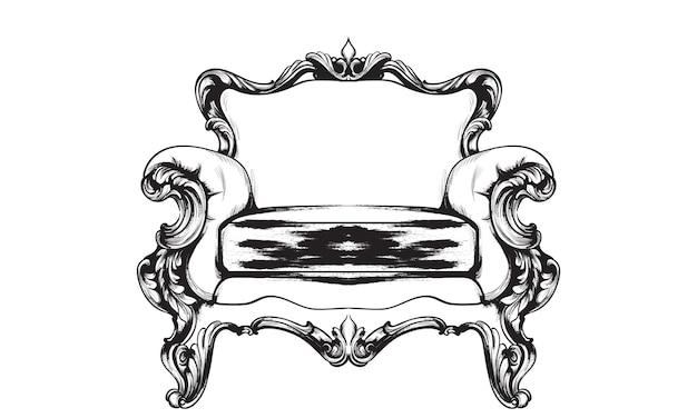Dessin au trait de fauteuil baroque