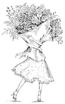 Dessin au trait d'une femme tenant une énorme illustration vectorielle de bouquet de fleurs