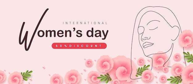 Dessin au trait de femmes. bannière de vente de la journée de la femme. journée internationale de la femme.