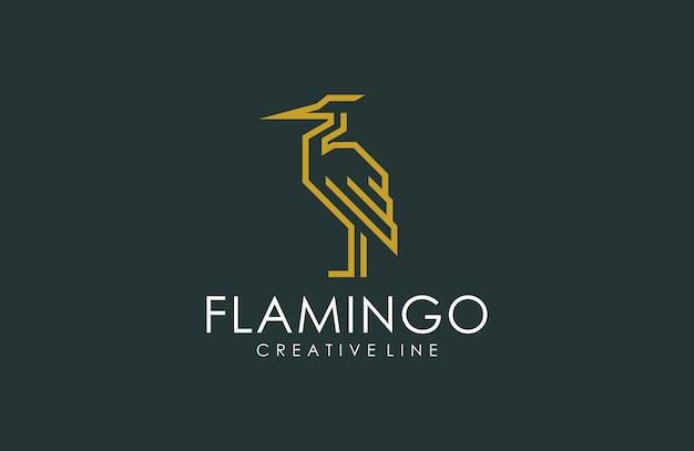 Dessin au trait flamingo logo de luxe