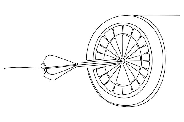 Un dessin au trait de flèches tirant en continu sur la cible au vecteur de la cible de tir à l'arc