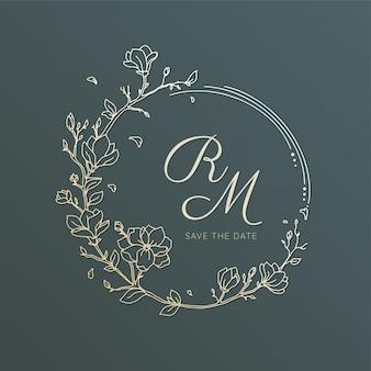 Dessin au trait fleur couronne pour invitation de mariage