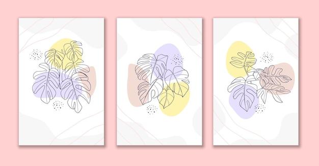 Dessin au trait fleur et feuilles affiche b