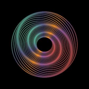 Dessin au trait géométrique sur fond noir