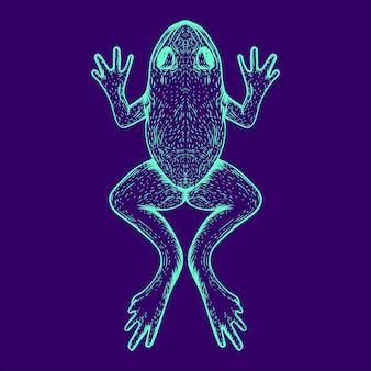 Dessin au trait de grenouille de couleur lueur