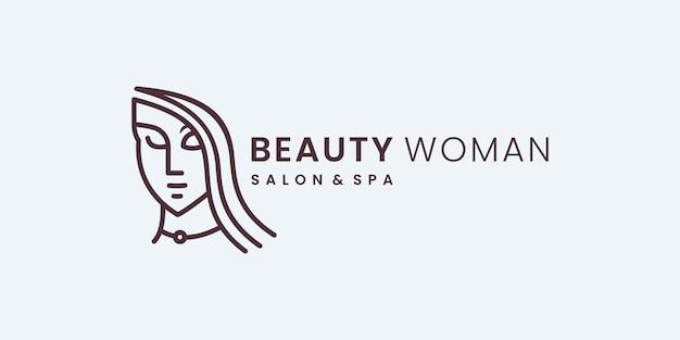 Dessin au trait d'icône de logo de salon féminin de beauté. logo être utilisé pour la mode, salon, modèle de conception de logo spa.