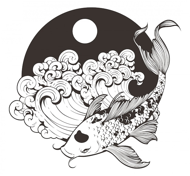 Dessin au trait japonais carpe koi