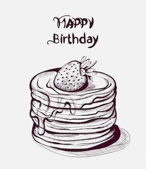 Dessin au trait joyeux anniversaire gâteau