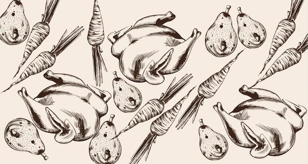 Dessin au trait joyeux dîner de thanksgiving. illustrations détaillées de dinde et légumes