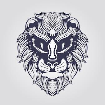 Dessin au trait d'un lion aux grands yeux
