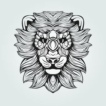 Dessin au trait lion noir et blanc