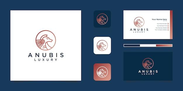 Dessin au trait logo anubis et carte de visite