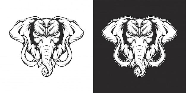 Dessin au trait logo tête d'éléphant