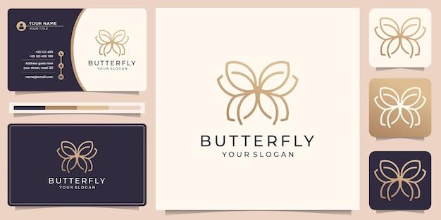Dessin au trait de luxe logo papillon minimaliste