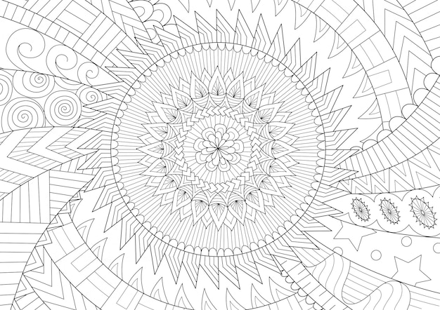 Dessin au trait mouvement mandala