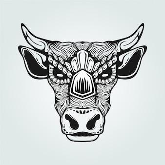 Dessin au trait noir et blanc de vache
