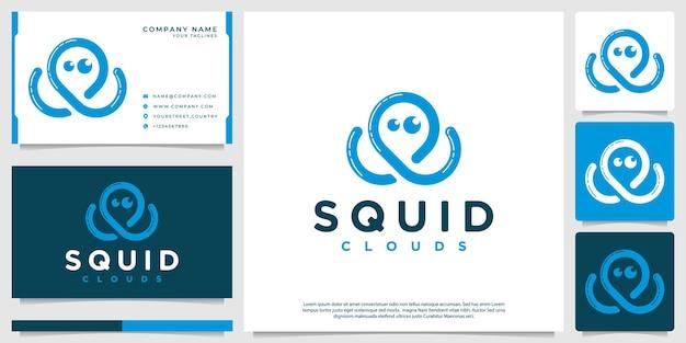 Dessin au trait nuage en forme de calmar de logo