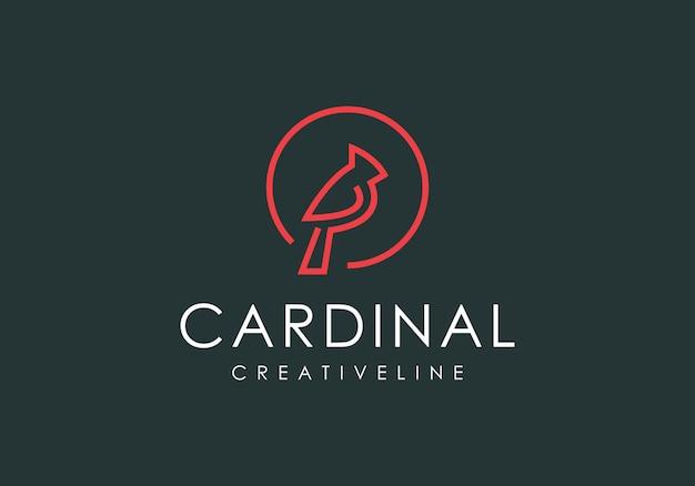 Dessin au trait oiseau cardinal de luxe du logo