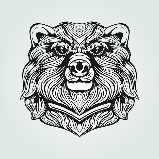 Dessin au trait ours noir et blanc