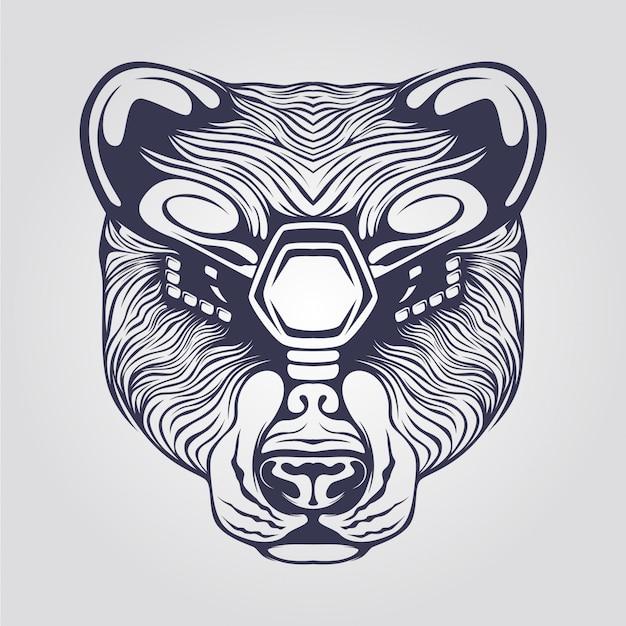 Dessin au trait d'ours avec des yeux décoratifs