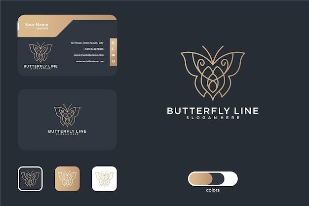 Dessin au trait papillon élégant et carte de visite