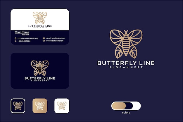 Dessin au trait papillon de luxe et carte de visite