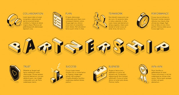 Dessin au trait partenariat entreprise, bannière isométrique. principes d'entreprise, équipe commerciale