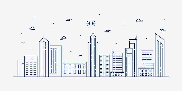 Dessin au trait paysage de la ville
