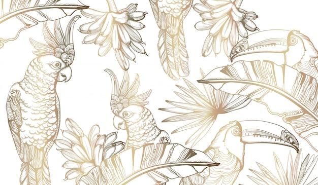 Dessin au trait perroquet de carte d'or. décors de feuilles de palmier exotiques