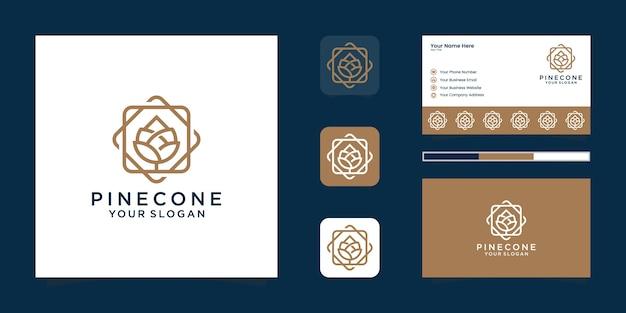 Dessin au trait pine cone logo et carte de visite