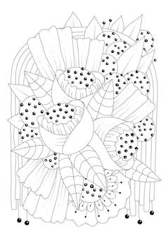 Dessin au trait rond fleurs et bourgeons à colorier