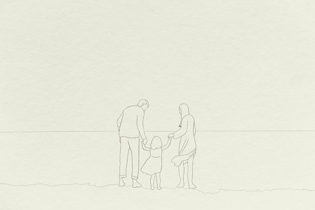 Dessin au trait simple de fond de temps de famille