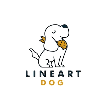 Dessin au trait simple sourire chien assis avec logo plat polkadot scraf