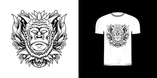 Dessin au trait singe avec ornement de gravure pour la conception de tshirt