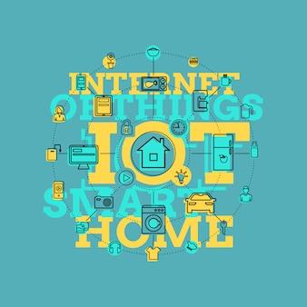 Dessin au trait smart home et internet of things