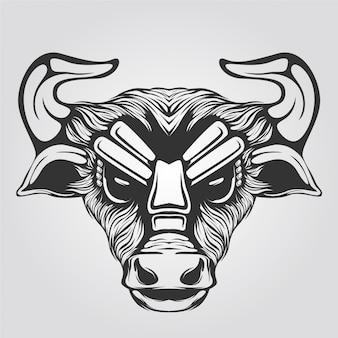 Dessin au trait taureau noir et blanc