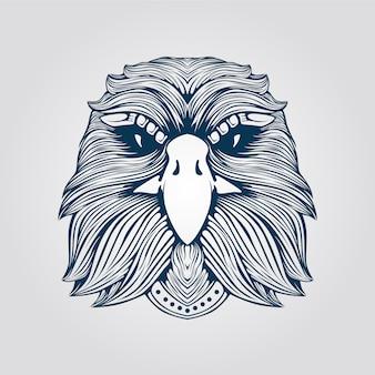 Dessin au trait tête d'aigle