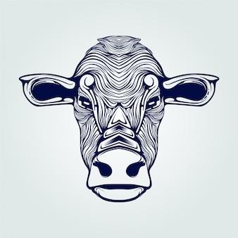 Dessin au trait tête de vache