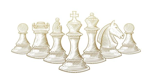 Dessin au trait de toutes les pièces d'échecs alignées.