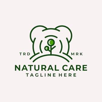 Dessin au trait vecteur de logo de soins naturels ludiques
