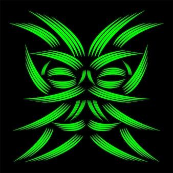 Dessin au trait vert masquage motif géométrique abstrait