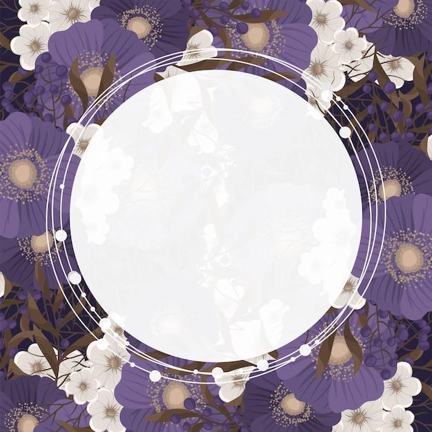 Dessin de bordure de fleur - cadre cercle