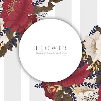 Dessin de bordure de fleur - cadre rouge